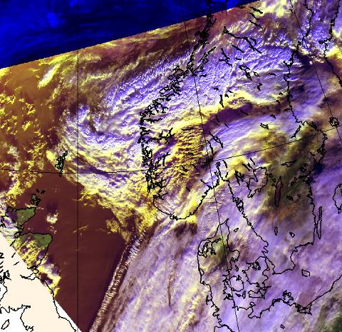 Satelittbilde som viser vêret vi no får innover oss.