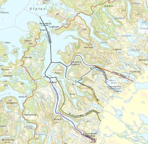 B BLE TIL D: Fylkesmannen hadde anbefalt at tidligere Tysfjord kommune skulle deles etter alternativ B, men departementet valgte å gå etter alternativ D. Det utløste søksmål fra Narvik kommune. Nå er saken endelig avgjort. Alternativ D blir stående.