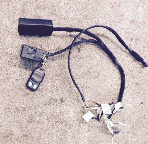 Komplisert utstyr: Dette utstyret ble funnet i vogntoget. Politiet beskriver det som profesjonelt.Foto: leserfoto, tungt.no