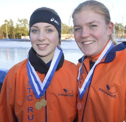 STERKE: Nederlenderne Anuok Benedictud (til venstre) og Anne-marie Boersma gjorde det bra i jenter 16 år. Foto: Even Grinvoll