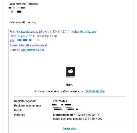 E-POST: Slik ser e-posten som Romstad fikk i innboksen natt til søndag.