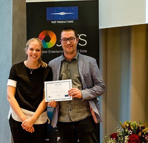 PRIS: Ingrid Stenersen og Nicholas Sando vant internasjonal pitchepris i Berlin.