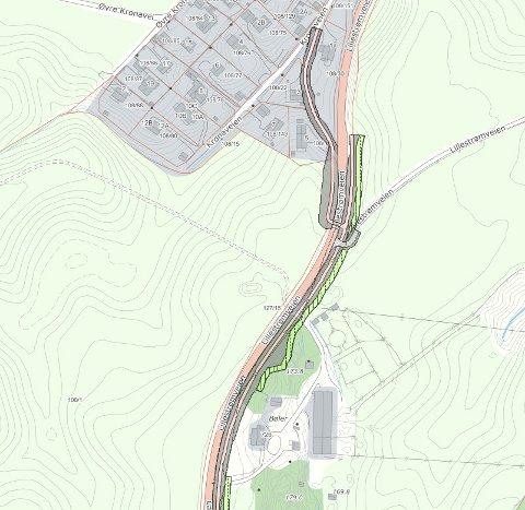 Slik blir gang- og sykkelveien ved Kronafeltet i Kirkebygda. Byggestart er forventet å bli i 2020. Den smale rosa linjen viser hvor gangveien skal gå.