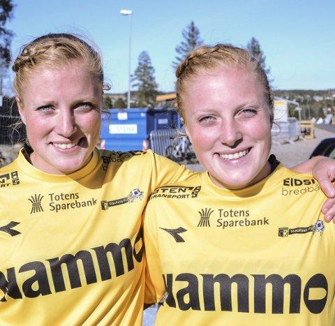 DEBUT: Stina (til venstre) og Guro Næss Berge fra Roa fikk sin 1. divisjonsdebut for Raufoss 16. mai.