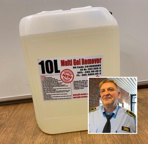 GBL: Tollerne fant 10 liter GBL i baksetet på en bil. En brukerdose er en bruskork.