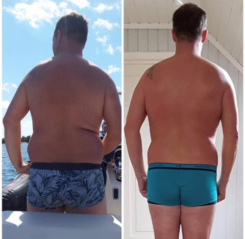 VEKTREDUKSJON: Bildet er tatt med tre måneders mellomrom sommeren 2018. – Folk så først at jeg var litt fluffy, så begynte de etter hvert å spørre om jeg hadde gått ned i vekt, forteller Robert.