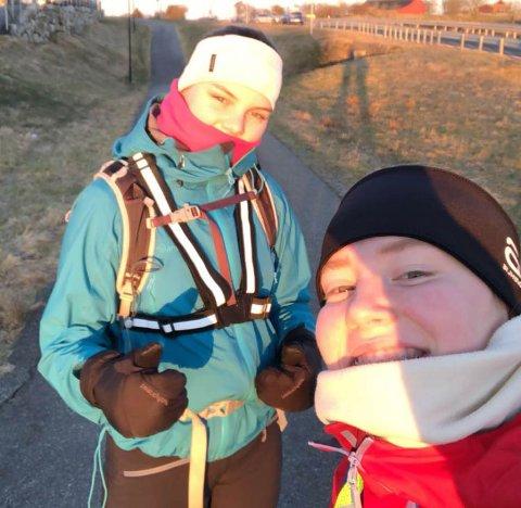 Sofie Ekberg og Tuva Lorentzen gikk fra Ålgård, via Bryne, Klepp, Sandnes og tilbake til Ålgård torsdag denne uka.