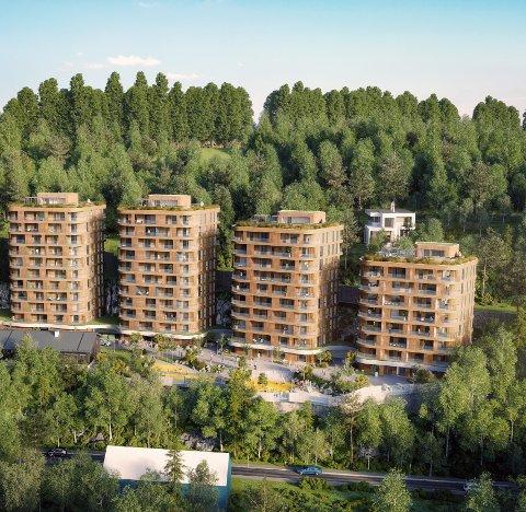 FIRE BLOKKER: Foreløpig illustrasjon av  boligprosjektet i Fyrstikkbakken 14. I forgrunnen sees Jernbaneveien. Skisse: Link Arkitektur