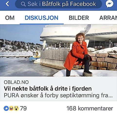 Skjermdump: Forslaget om tømmeforbud i Bunnefjorden, har skapt stort engasjement på facebookgruppen, Båtfolk på Facebook.