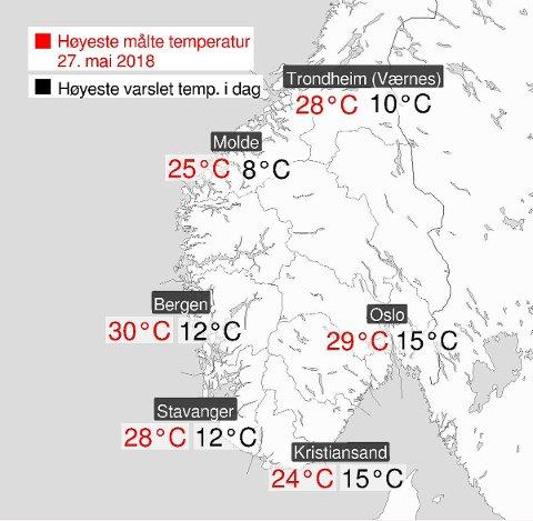 KART: Se forskjellene på temperaturene.