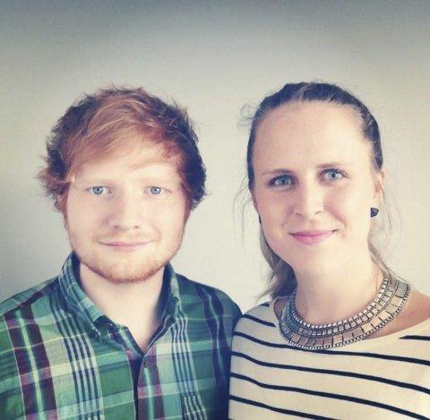 STJERNEN OVER ALLE: – Jeg er så fan av Ed Sheeran at jeg har dette som bakgrunnsbilde på pc-en på jobb, sier Benedicte Jacobsen Hamnes.