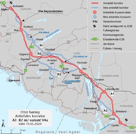 RØDE LINJEN: Den røde linjen er den anbefalte løsningen.
