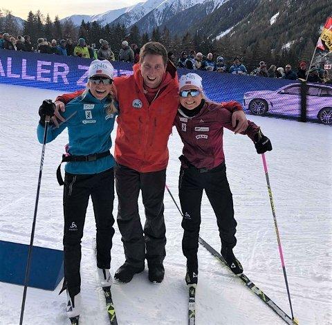 Reingjetarane frå Lom kjem tett på skiskyttarstjernene. Her er Ola Vaagaasarøygard saman med Tiril Eckhoff og Ingrid Landmark Tandrevold under prøve-VM i fjor.