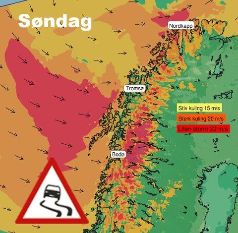Her er det varslet dårlig vær søndag. Kysten av Vest-Finnmark vil få kraftig vind.