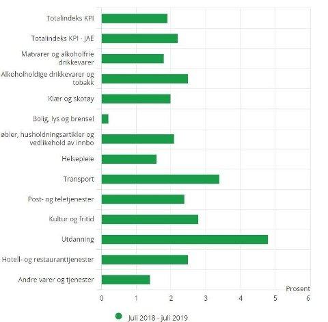 UTDANNING KOSTER: Prisene på utdanningstjenester er det som har steget mest de seneste tolv måneden, ifølge Statistisk sentralbyrå.