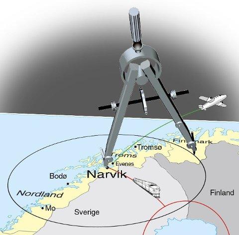 SENTRALT PLASSERT: Narvik ligger svært sentralt. 418.000 mennesker i Norge, Sverige og Finland er innenfor en sirkel med radius av 30 mil rundt byen.