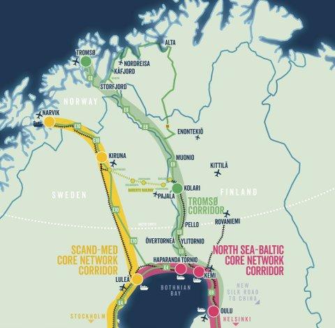 Northern Lights Corridor:  Slik presenteres Sverige/FinlandTornedalens kobling til Ofotbanen og havna i Narvik.  Ill: Northern Lights Corridor