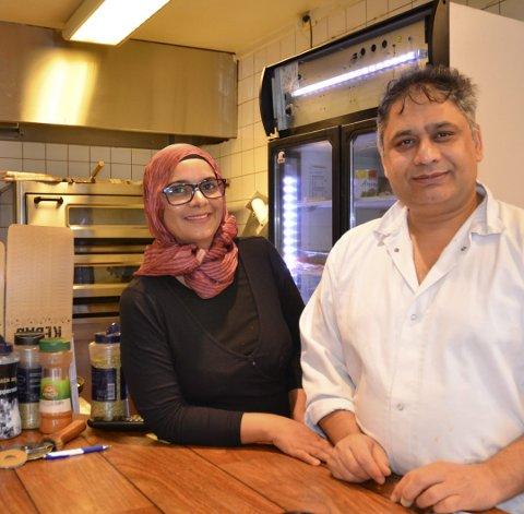 Nazia og Ishtiaq Ali har drevet Hellekroa i ti år, og stortrives med virksomheten på Helle.