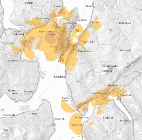 23 BASESTASJONER: Dette kartet viser hvordan Telenors 5G-dekning var 15. september.