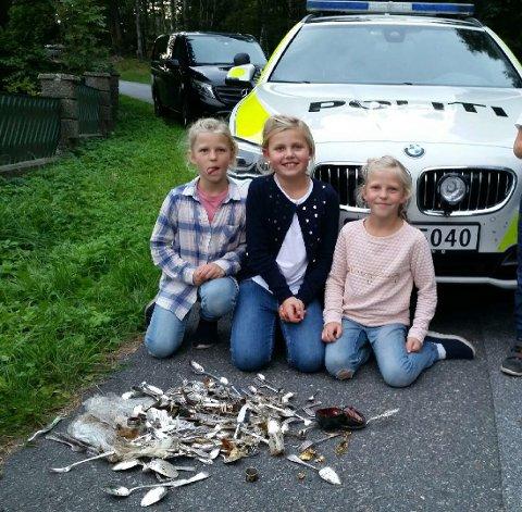 Fant en ekte skatt: Tuva Lomtjernbakken (f.v.) Sophie W. Kjær og Hedda Lomtjernbakken fant verdifullt tyvegods i en pose gjemt i Rødbergskogen.
