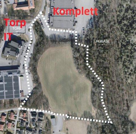 NYTT NÆRINGSOMRÅDE: Kullerød Syd ligger sør for Komplett og øst for Torp IT og nord for boligene på Hunsrød. (Illustrasjon: PV Arkitekter)