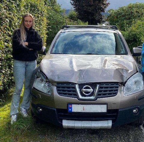 Sissel Algrøy Arana fikk en ubehagelig overraskelse da hun så at den nye bilen hennes hadde store skader, uten at hun vet hvor de kommer fra.