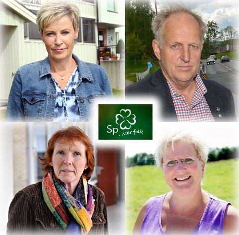 Det er full splid mellom Senterpartiet i Buskerud og Senterpartiet i Viken om utnyttelsen av områder på Norefjell. Øverst fra venstre Anne Kristine Norman, Olav Skinnes, Kari Anne Sand og Brita Skallerud.
