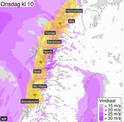 Fra tirsdag kveld blir det kraftig fralandsvind i Nordland, Troms og Vest-Finnmark. Lokalt kan det bli vindkast på 27 meter per sekund.