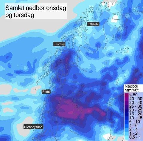 NEPPE NOK: Det ser vått ut med nedbøren vi har i vente, men det er neppe nok til at skogbrannfaren i Troms kan avlyses. Skjermdump: Meteorologene på Twitter