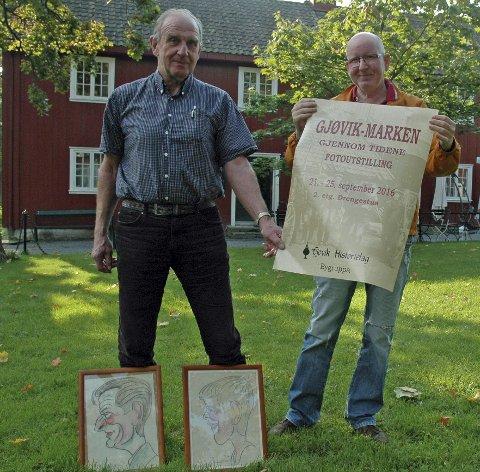 UTSTILLING: Dag Kløvstad (t.v.) og Erland Hvalbye i bygruppa til Gjøvik Historielag. Foto: Øyvind Fiva Lien