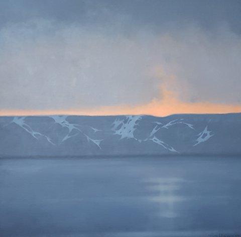 """FLOTT: """"Over jorden II"""" er ett av Eva Harrs vakre landskap du kan oppleve på utstillingen """"Landskap i uroens tid"""" i Bibliotekgalleriet i Kolben."""