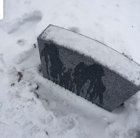 IKKE GREIT: Hunder hadde tisset på gravsteinen til Østlund besteforeldre. (Foto: Privat)