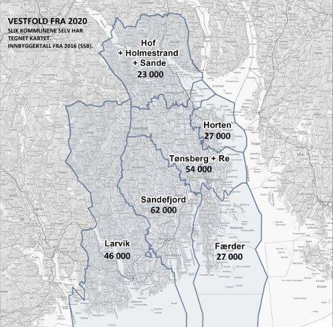 Slik har kommunene selv tegnet «nye vestfold»: som leseren raskt oppdager, er kartet uten Svelvik...