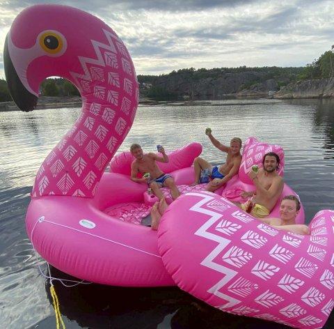 Flamingostemning: Muntert i flamingoen med (fra venstre) Fredrik Skorstøl, Andreas Søraker, Vetle Salmi Austvik og Sverre KIrsebom. Foto: Privat
