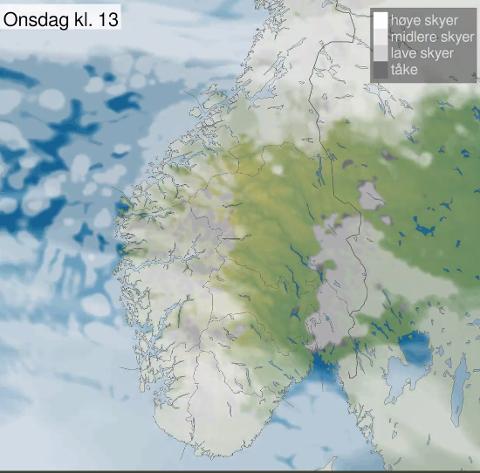 Skydekket kan se ut til å sprekke opp onsdag. Og det er meldt kaldere vær. Kanskje kan vi få et svært etterlengtet gjensyn med sola? Det er lov å håpe. Foto: Meteorologene på Twitter