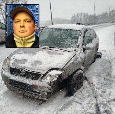 – Heldigvis ble ingen skadet, sier Christoffer Roos, som så Corollaen havne i autovernet, etter at den hadde vært inni hans egen bil.