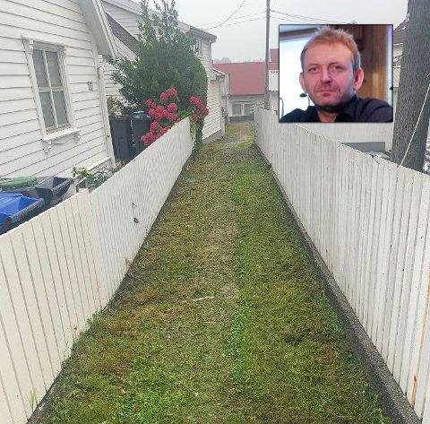 LEI: Geir Halvorsen er lei av at kommunen ikke tar seg tid til å vedlikeholde gata.