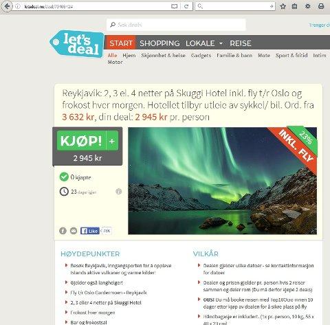IKKE TATT PÅ ISLAND: Bildet markedsfører en reise til Island, men bildet som skal lokke folk dit, er tatt i Ersfjorden rett utenfor Tromsø. Skjermdump fra Letsdeal.no sine nettsider.