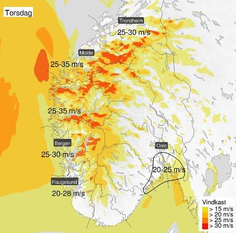 HOLD PÅ HATTEN! Det er ventet kraftige vindkast i Vestfold torsdag.
