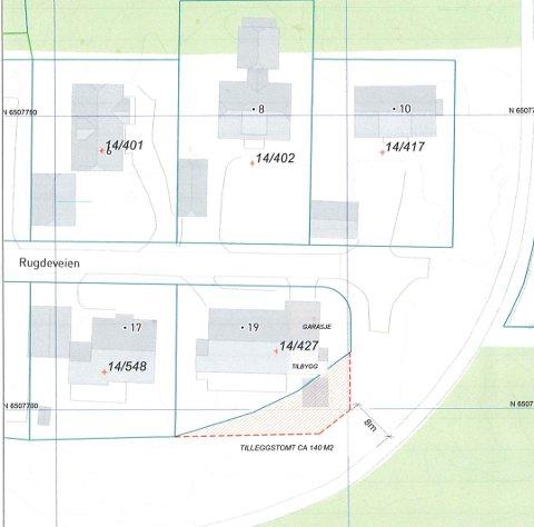 Det er området skravert med rødt Ibsen får kjøpe av kommunen.