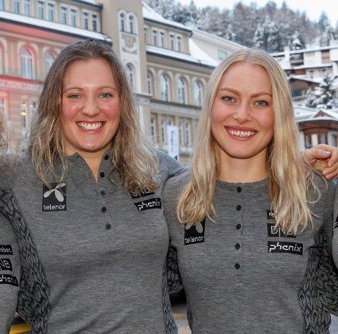 Maria Tviberg (t.v.) og Ragnhild Mowinckel under VM i St. Moritz i fjor. Tviberg sier det var ekstra sårt å ikke være en del av laget da venninnen lyktes i OL.