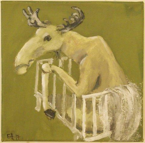 På utstillingen kan du også møte denne elgen, malt av Eli Helgheim.