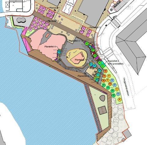 ANBUDSKONKURRANSE: Området mellom Kistefossdammen og sentrumstomten i Heggedal skal forvandles til et parkområde med torg, scene og bryggesti. Det blir leke- og aktivitetsområder.