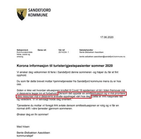 FORBEHOLD: Med den usikre koronasmittesituasjonen som er nå, skal dette skrivet fra Sandefjord kommune forberede gjestepasienter på at de kanskje må dra hjem tidligere enn tenkt.