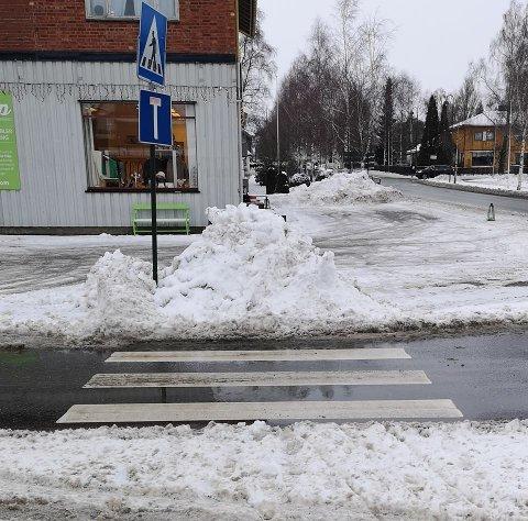 PASSENDE SKILTING: Skiltet som markerer blindvei ble fryktelig passende etter at brøytemannskapet sperret for et gangfelt i Spydeberg sentrum.