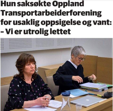 Faksimile av artikkel om rettssak mellom Oppland Transportarbeiderforening og en oppsagt kontoransatt