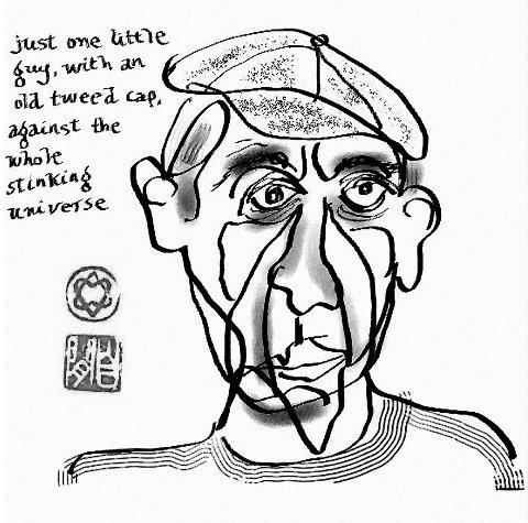 Selvportrett: Mange av Leonard Cohens arbeider er selvportretter. 26. august åpnes utstillingen på Soli Brug.