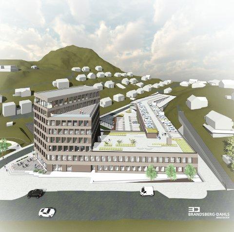 Egersund Forum sett fra øst, slik arkitektene har tegnet det.