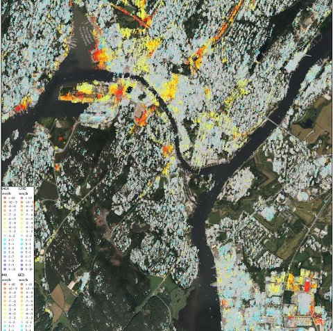 BYEN SYNKER: InSAR-data fra den sentrale delen av Fredrikstad. De røde punktene viser innsynkning på minst 1 cm per år. Data er samlet inn av Sentinel-satellitter i regi av det europeiske Copernicus-programmet.