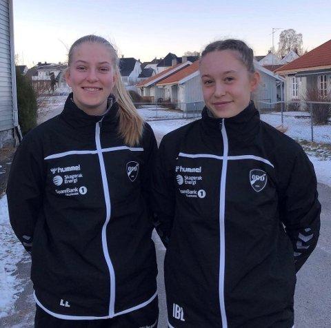 FOTBALL:: Kragerøjentene Lise Lia (t.v.) og Iben Lier er med på Odd Ballklubbs kvinnesatsing.